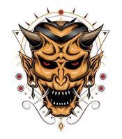 Devil mask illustration with sacred symbol. Japanese ghost vector