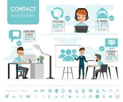 contact us info graphics set with icons vector