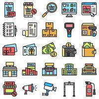 supermercado y centro comercial relacionado con el conjunto de iconos 8, estilo de archivo vector