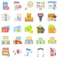 supermercado y centro comercial relacionado con el conjunto de iconos 8, estilo plano vector