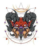 cabeza de diablo con cara enojada vector