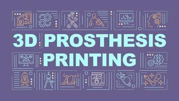 Banner de conceptos de palabra de impresión de prótesis 3d vector