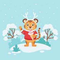 Cute tiger in a sweater with ice cream wishes a Merry Christmas and Happy New Year 2022 on winter background. Year of the tiger. Vector illustration