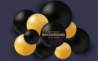 Color abstract background with realistic 3d balls luxury composition with black and gold glossy spheres vector