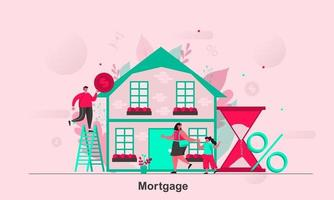 Mortgage web concept design in flat style vector illustration