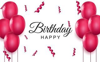 Feliz cumpleaños tarjeta de felicitación elegante globos de aire rosa y confeti cayendo sobre fondo blanco. vector