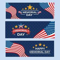 Happy Memorial Day USA Banner Collection vector