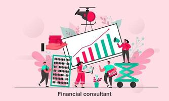 Financial consultant web concept design in flat style vector illustration