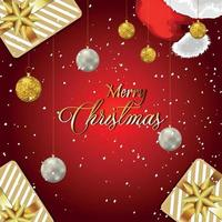 Merry christmas invitation greeting card with creative gifts vector