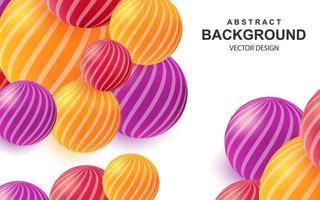 Fondo abstracto colorido con bolas 3d realistas composición brillante con esferas de color a rayas vector