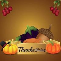 Ilustración de vector creativo de la tarjeta de felicitación del día de acción de gracias sobre fondo creativo