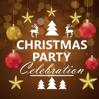 Merry christmas celebration party background with creative party ball vector