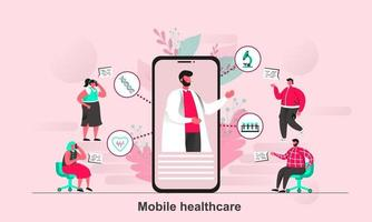 Mobile healthcare web concept design in flat style vector illustration
