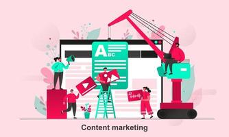 Content marketing web concept design in flat style vector illustration