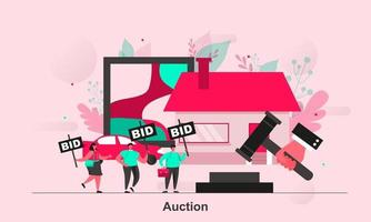 Auction web concept design in flat style vector illustration