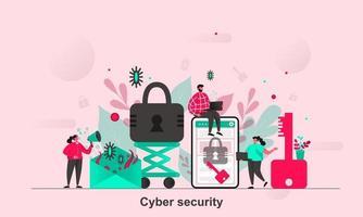 Diseño de concepto web de seguridad cibernética en la ilustración de vector de estilo plano