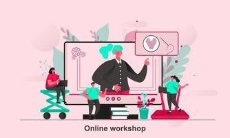 Diseño de concepto web de taller en línea en la ilustración de vector de estilo plano