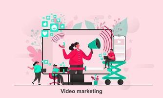 Viral marketing web concept design in flat style vector illustration