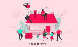 House for rent web concept design in flat style vector illustration