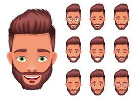 Ilustración de diseño de vector de expresión de cara de hombre aislado sobre fondo blanco