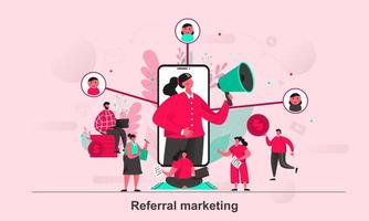 Referral marketing web concept design in flat style vector illustration