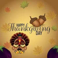 Happy thanksgiving greeting card with vector illustration of turkey bird