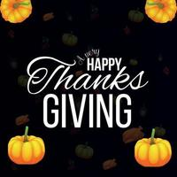 Thanksgiving creative background with creative vector realistic pumpkin