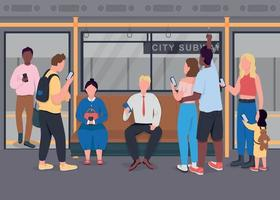 People in public transportation flat color vector illustration
