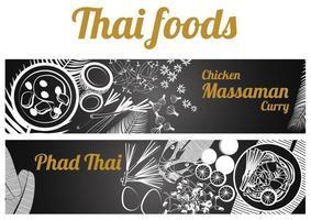 Thai foods banner vector