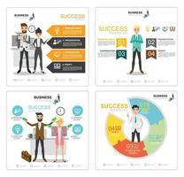 gráfico de información de éxito empresarial set 2 vector