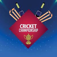 Cricket championship stadium background with cricket trophy and bat and wicket vector