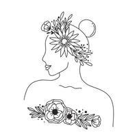 rostro y cuerpo de mujer y flores de línea continua de arte. Collage contemporáneo abstracto de formas geométricas en un estilo moderno de moda. vector retrato de una mujer. por concepto de belleza, camiseta estampada, postal