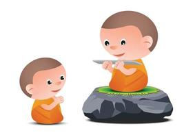 Old monk teaches Dharma to little monk vector