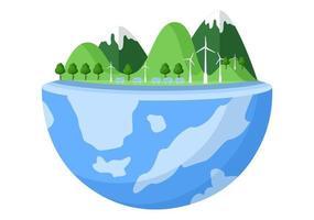 Guarde nuestra ilustración del planeta tierra en un medio ambiente verde con un concepto ecológico y protección contra daños naturales. vector