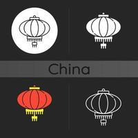 Chinese lantern dark theme icon vector