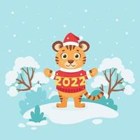 Cute tiger in a sweater wishes a Merry Christmas and Happy New Year 2022 on winter background. Year of the tiger. Vector illustration