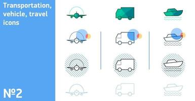 This is a set of icons of an airplane and a truck and a yacht in a different style vector