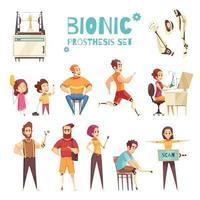 Bionic Prothesis Cartoon Icons Set Vector Illustration