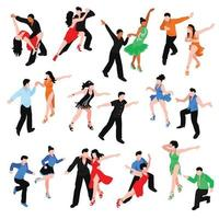 Dances Isometric People Set Vector Illustration
