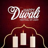 Happy deepawali invitation greeting card with creative candle vector