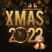 Merry christmas invitation background with golden text and golden party balls vector