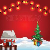 Christmas celebration greeting card with ice background with gifts on red background vector