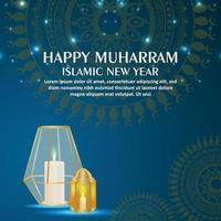 Islamic festival happy muharram invitation greeting card with crystal lantern on pattern background vector