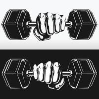 Silhouette Sport Athlete Exercise Power Dumbbells Stencil Drawing vector