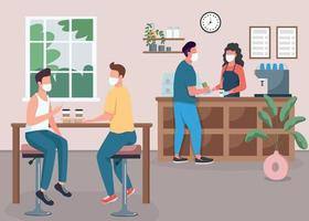 Coffee shop during pandemic flat color vector illustration
