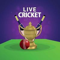 Live cricket match  background with gold trophy and bat vector