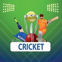 Live cricket championship vector illustration  with cricketer with cricket equipment