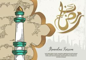 tarjeta de felicitación de ramadan kareem con torre de mezquita blanca verde vector