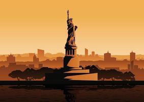 estatua de la libertad al atardecer vector