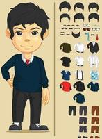 Cartoon Handsome Boy Dressup Game Character Asset Vector Drawing